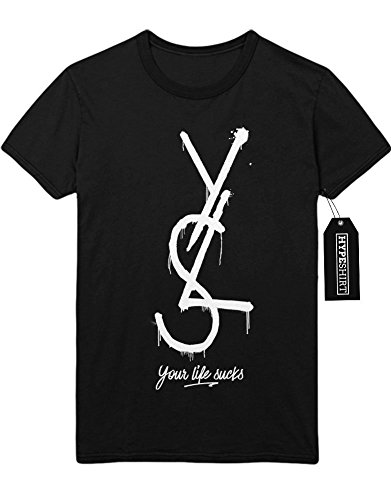 T-Shirt YLS Your Life Sucks YSL Yves Saint Laurent Fake H989919 Schwarz