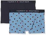 Tommy Hilfiger Jungen Boxershorts 2P Trunk Mini Flag, 2er Pack, Blau (Blue Heaven/Navy Blazer 001), 164 (Herstellergröße: 12-14)