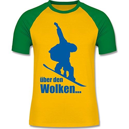 Wintersport - Snowboard - Über den Wolken - zweifarbiges Baseballshirt für Männer Gelb/Grün