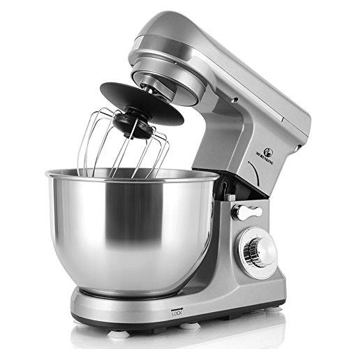 MURENKING MK37C 1000W Professionelle Rührmaschine Küchenmaschine 5 Liter Schüsse 6-Stufige Geschwindigkeit Den Kopf neigen Elektromixer knetmaschine (Grau) Mini-küchenmaschine Reibe