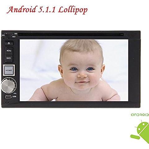 Nuovo arrivo Android 5.1.1 EinCar lettore DVD Video Doppio Din auto sistema audio per la navigazione GPS per auto 2 DIN autoradio di sostegno SD USB Multimedia Riproduzione Wifi / 3G / 4G / Bluetooth