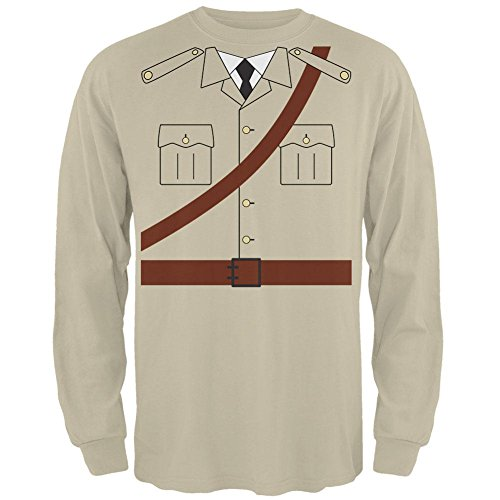 Kostüm Halloween Safari Explorer Dr. Livingstone Mens Long Sleeve T Shirt Sand (Safari Explorer Kostüm)