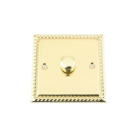 Light Dimmer Switch 1 Gang - Push On/Off 400W - Polished Brass - Georgian - 1 Gang 2 Way 10 Amp
