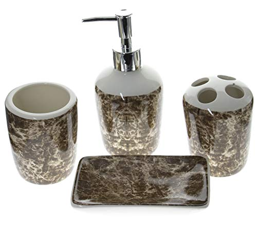 juego de accesorios de baño de apoyo de cerámica, 4unidades, Plásticos, dispensador jabón, vaso de Lavabo y platillo jabonera set accessori marrón