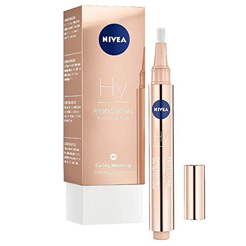 NIVEA PROFESSIONAL Hyaluronsäure Anti-Age Make-Up Concealer, 40W, warmer Hautton, Anti-Aging Concealer mit Pinsel zum einfachen Abdecken und Kaschieren von Augenringen, Falten und Rötungen, 1 x 2,8 ml