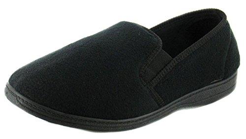 New Mens/Gents Black Fleece Upper Twin Gusset Slippers. - Black - UK...