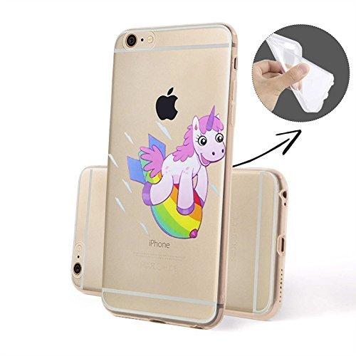 Finoo Handyhuelle Silicone Motivo 7 - Unicorno presse, iPhone 5/5S Unicorno Razzo