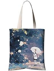 Sac à bandoulière en fleurs de style japonais Sac à provisions de voyage Melancholy Girl