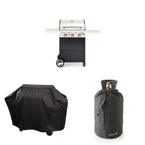 Barbecook Gasgrill Spring 300, crème/beige, 133 x 57,4 x 115 cm, 2236930210 + Abdeckhaube + Gasflaschenhaube 11Kg