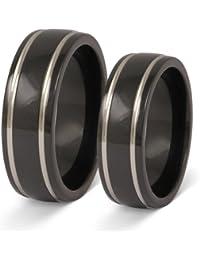 Zwei elegante Titanringe in Schwarz/Silber, Verlobungsringe, Eheringe mit Gratis Gravur