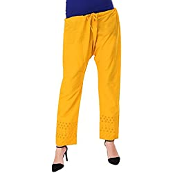 Vastraa Fusion Lucknow Chikan Light Embroidered Yellow Color Cotton Palazzo Pant