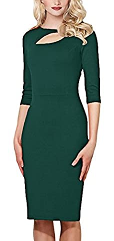 Bestfort Damen 1/2 Arm Elegant Kleid Etuikleid O-Ausschnitt Business Stretch Partykleid Spitze Cocktail Figurbetontes Die Taille