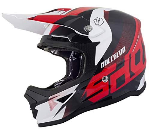 Qtech Casque de Moto pour Enfant avec Lunettes de Protection Motocross Cross Noir Mat XS Rouge