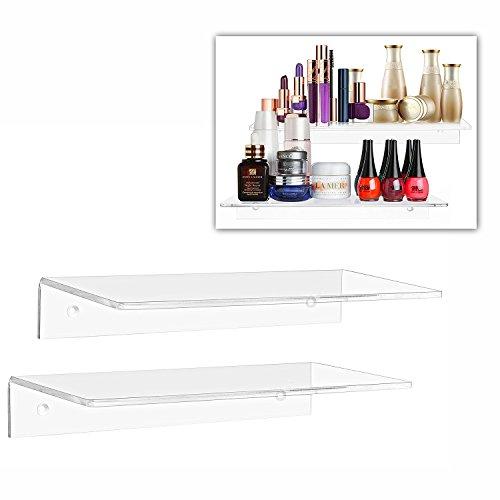 2 Regal Wand (Moderne Acryl klar Schwimmende Regal/Wand montiert Display Organizer, Set von 2)