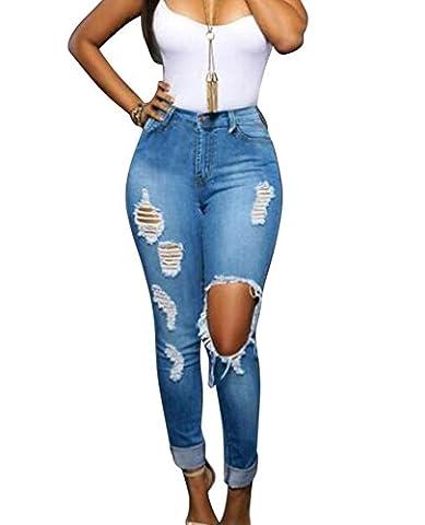 Femmes Jeans déchirés troué aux genoux à taille haute en denim Slim Pantalons Jeans Skinny S Bleu clair