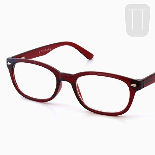 Pretty Smart Glasses Rot Wayfarer Lesebrille mit Rand & Tasche + 2.0