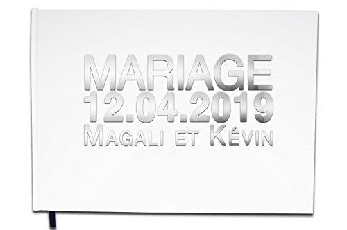 UTTSCHEID Livre d'or Mariage Personnalisé - Lettres chromées ou dorées -100 Pages - Qualité Premium Blanc Pur
