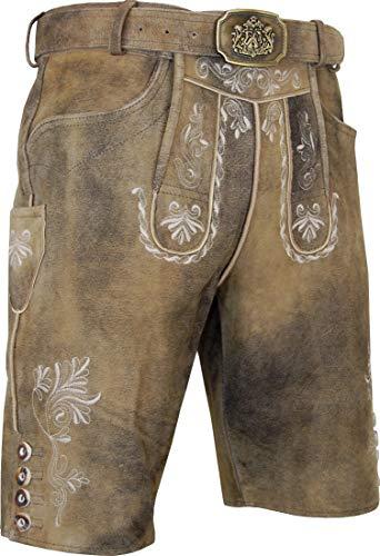 Hammerschmid Lederhose Fürth mit Koppelgürtel, Größe:54, Farbe:braun