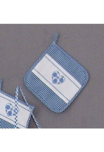 Küche und mehr - Topflappen, blau-weiß kariert Stickerei