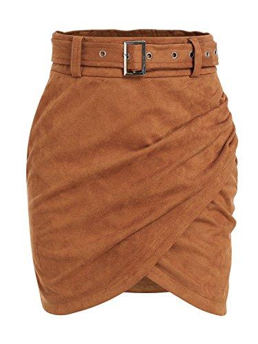 Terryfy Damen Kurz Rock High Waist Skirt Asymmetrischer Rock Mini Rock mit Gürtel
