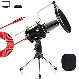 Tonor Microfono per PC da 3,5 mm Microfono a Condensatore per PC, Windows/Mac, per Chat Online, Podcasting, Registrazione