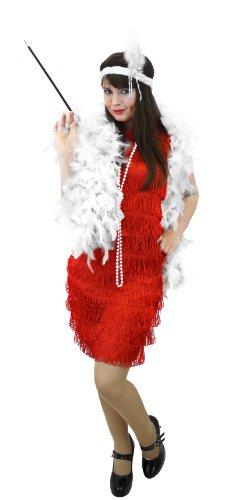 Da donna ilovefancydress COSTUME da rosso 58521,6 cm S da ballerina di Charleston + FEATHER BOA + testiera + CIGERETTE supporto + perline CHARLSTON vestito