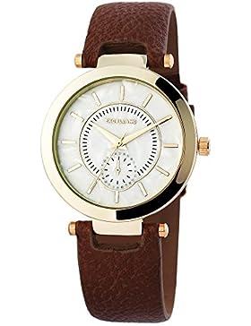 Damenuhr Uhr Bicolor Kunstlederarmband 22cm Braun Dornschließe 195001500202