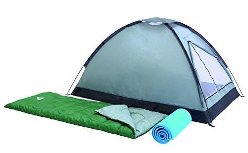 Set campak 2 places 5 pièces: 1 tente 205cm x 145cm h 100cm + 2 sacs de couchage + 2 tapis de sols