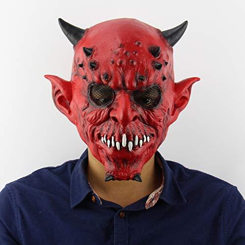 mgesucht Horn Monster Maske Halloween Make-up Abschlussball House bar Horror Set Erwachsene Latex Kopfmaske ()