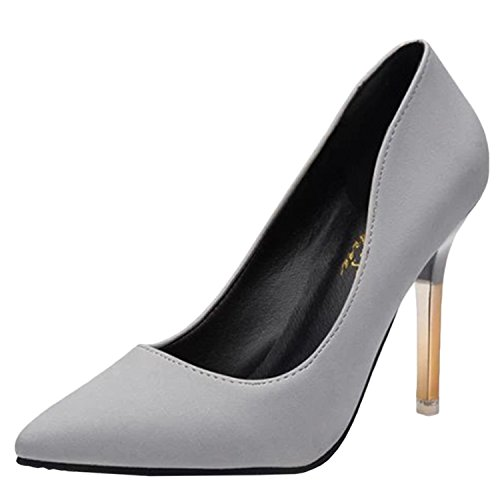 Oasap Women's Low Cut Pointed Toe Slip-on Stiletto Club Pumps Grey