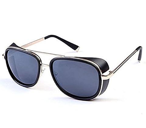 (Goldener Rand Brillen Grau Lens) Sonnenbrille Modell Steampunk Iron Man
