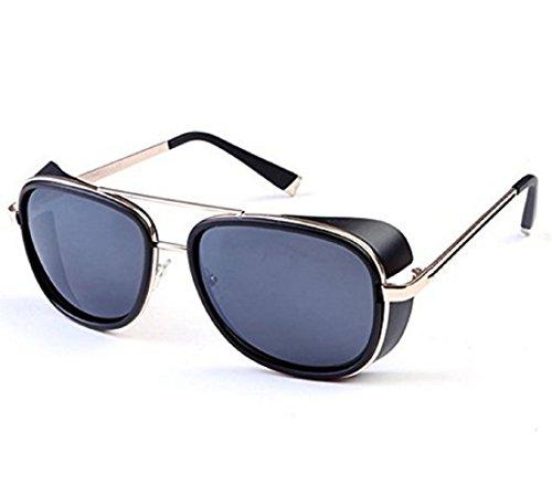 (Goldener Rand Brillen Grau Lens) Sonnenbrille Modell Steampunk Iron Man Tony StarkRetro Für Männer Frauen (Man Iron Muster Kostüme)