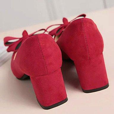 WSX&PLM Da donna-Tacchi-Casual-Cinturino-Quadrato-Cashmere-Nero Rosso Rosa red