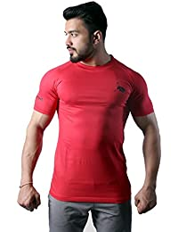 GreyWolf Fitness Tshirt Mythos Red Mens Sports Gym Unique Neck Men's Cotton Half Sleeves Tshirt For Men (Muta_T-Shirt02...