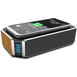 WULAU Qi Fast Chargeur sans Fil Bluetooth 4.0 10W Haut-Parleur sans Fil Portable, Enceintes sans Fil avec Microphone, Station de Charge inductive Qi pour iPhone 8 / X, Samsung Galaxy S6 / S7