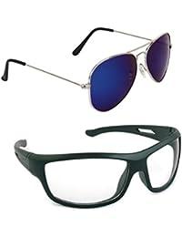 Magjons Fashion Combo Of Blue Mirror Aviator And Night Driving Sunglasses