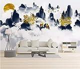 HONGYUANZHANG Abstrakter Goldener Elch Tapete Des Foto-3D Künstlerische Landschafts-Fernsehhintergrund-Tapete,80Inch (H) X 112Inch (W)