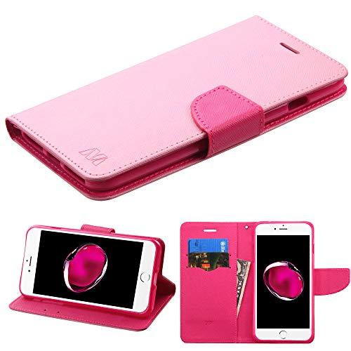 Schutzhülle + Tempered_Glas + Stylus, passend für Apple iPhone 7 Plus/8 Plus (auch für iPhone 6 Plus/6S Plus) MYBAT PU-Leder Geldbörse Clutch mit Kreditkartenfächern, Pink Gemustert/Hot Pink