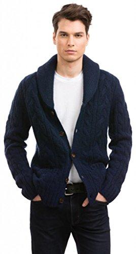 Citizen Cashmere Strickjacke Herren - Aus Yak-Wolle (Blau L) 42 123Y-17-03 - Wolle Herren Golf-pullover