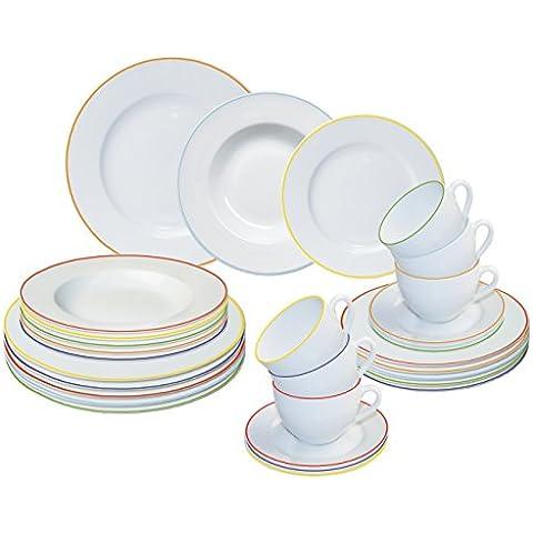 ARTE VIVA 120703 - Juego de café y vajilla de porcelana GRAZIOSO, 30 piezas, redondos, multicolor, design I