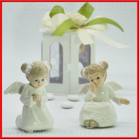 Engel aus Porzellan weiß glanz mit Flügeln und Kleid in Uni und bunte Details auf Gesicht und Haar, Geschenkbox mit Nachtlicht LED-Geschenke Geburt, Taufe, Kommunion kit 1 pz. Sacchetto Celeste (Heiligen Kommunion 1. Kleider)