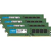 Crucial CT4K8G4DFD824A 32 GB Kit di Memoria (8 GB x4), DDR4, 2400 MT/s, PC4-19200, DR x8, DIMM, 288-Pin