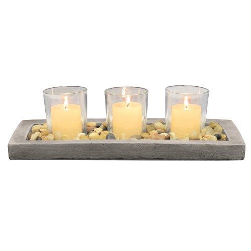 Glas-top-esstisch (Briarwood Dekoratives Tablett Votivkerze mit Zement Tablett, Natur rustikal Pebbles, und 3klar Glas Kerzenhalter, Einzigartige Mittelpunkt für den Couchtisch, Esstisch, oder Jeden Tisch Top)