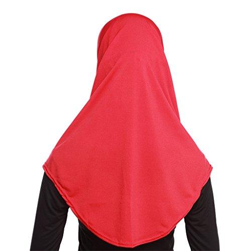 Fortuning's JDS Set di 2pcs sciarpa coperchio della testa musulmano Hijab comodo modo leggero rosso