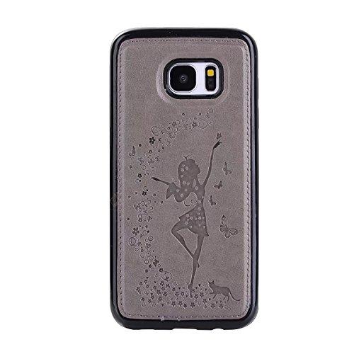 EKINHUI Case Cover Abnehmbare 2 in 1 Crazy Horse Texture PU Ledertasche, Fairy Girl Embossed Pattern Flip Stand Case Tasche mit Lanyard & Card Cash Slots für Samsung Galaxy S7 Edge ( Color : Blue ) Gray