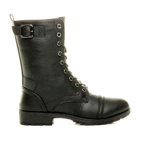 Sky Walker Womens Ladies New Army Low Heel Lace Up Biker Zip Military Buckle Detailed Combat Ankle Boots Size 3 to 8