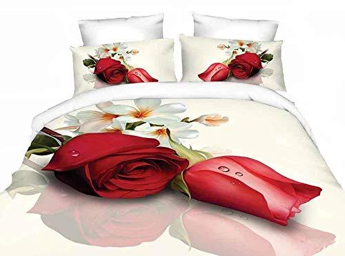 ZQYY 3D Bettbezug, 4-teiliges Set 3D-Blumenbettwäsche, Mikrofaser, Lieferumfang: Bettbezug 200 * 230cm*1, Kissenbezug 48 * 74cm*2, Bettlaken 250 * 250cm*1