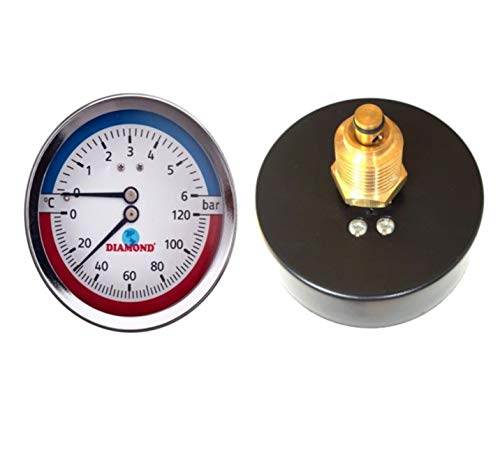 80mm Zifferblatt 0-120C 0-6 BAR Hintereingang Temperatur Manometer 1/2