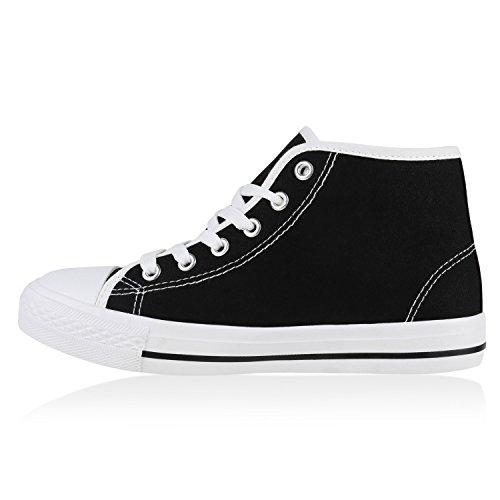 Damen Sneakers Denim Stoffschuhe Spitze Sneaker Low Nieten Glitzer Schuhe Freizeit Damenschuhe Turnschuhe Flandell Schwarz Autol