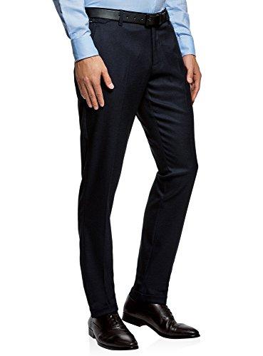 oodji Ultra Homme Pantalon Slim Fit à Revers, Bleu, FR 44 / L